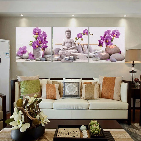 Wall Canvas Art Print Modern Frame 3 Panel Buddha And Flower Painting Poster Wall Picture For Home Decoration Painting Kids Room