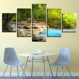 5 Pieces Forest Lake Flowing Water Natural Paintings Wall Art