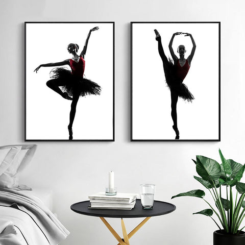 Nordic Style Ballet Girl Modern Canvas Wall Art HD Print