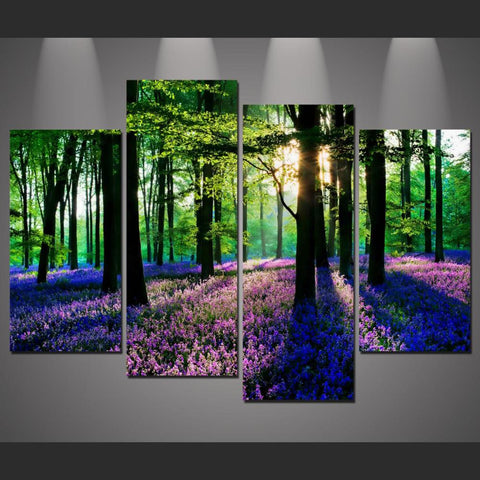 4 Panel Forest with Lavender Modern Decor Canvas Wall Art HD Print