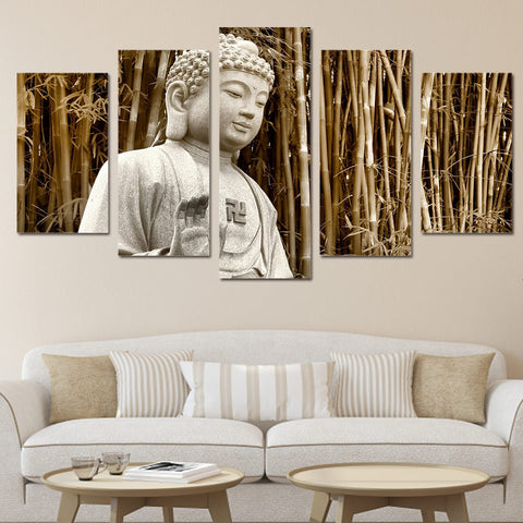 5 Panel Buddha Landscape Abstract Modern Decor Canvas Wall Art HD Print