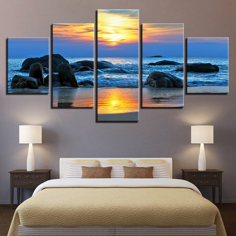 5 Panel Sunrise Beach Wave Breaking Against The Rocks Modern Décor Canvas Wall Art HD Print.