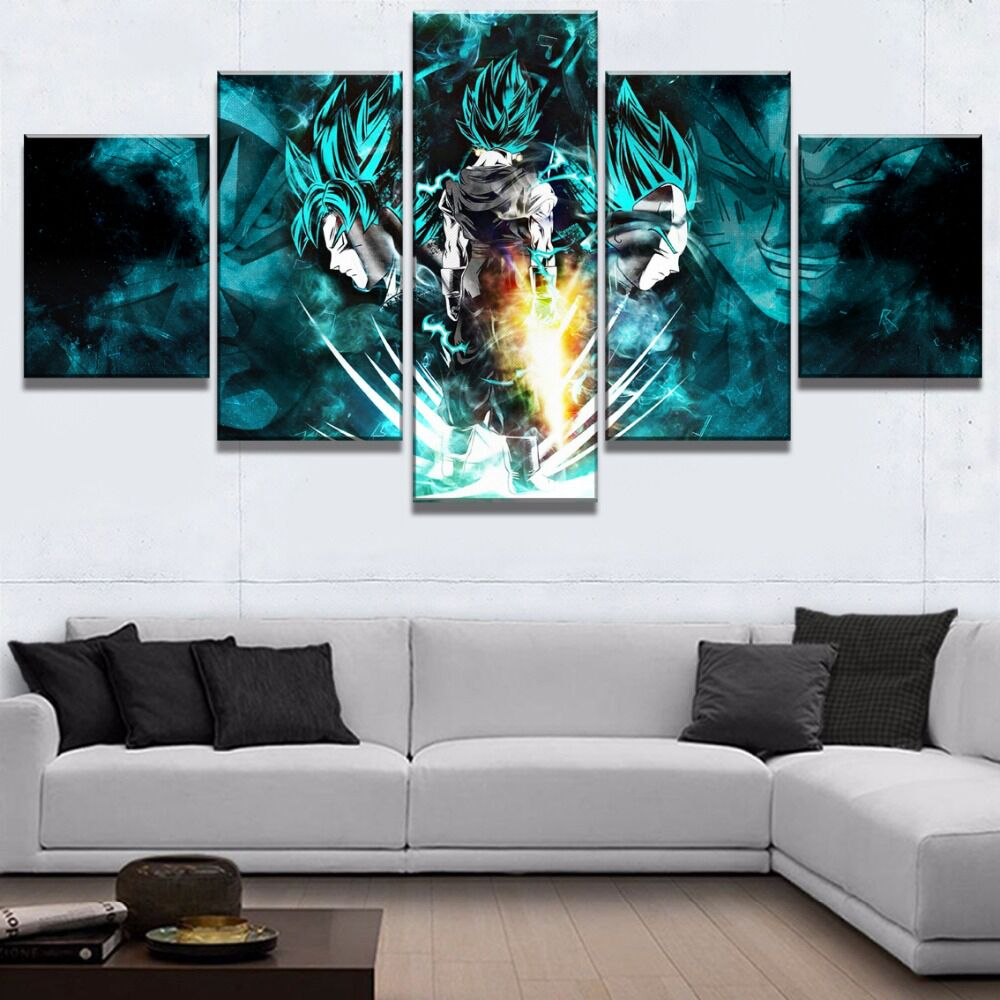 5 Pieces Dragon Ball Super Goku And Vegeta Modern Decor Canvas Wall Art HD Print