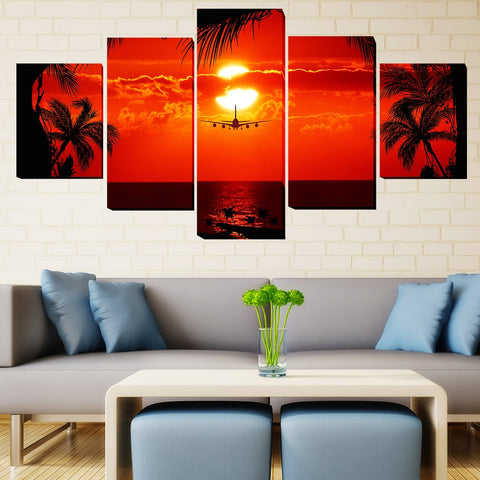 5 Panel Plane into Tropical Red Sunset Modern Décor Wall Art Canvas HD Print