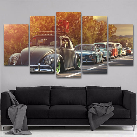 5 Panel Framed Volkswagen Beetles Car Modern Décor Canvas Wall Art HD Print