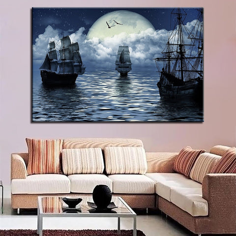 Sailing Ships in the Moons light Building Night Scene Modern Décor Wall Art Canvas HD Print