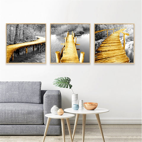 Nordic Style Wooden Bridge Waterfall Landscape Modern Decor Canvas Wall Art HD Print