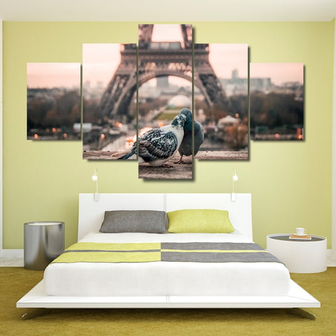 5 Panel Paris Eiffel Tower Romantic Doves Modern Decor Canvas Wall Art HD Print.