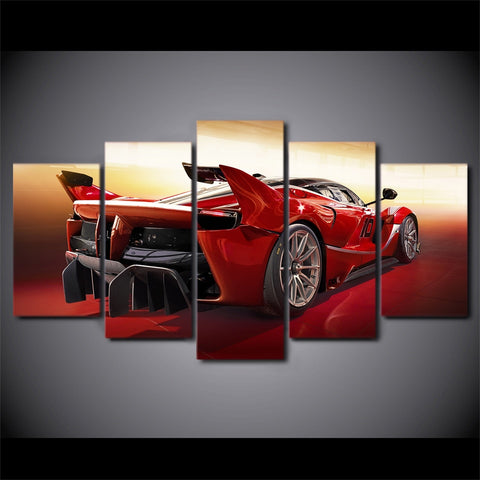 Modern Wall Art  Poster 5 Panel Red Cool Sport Car Canvas Prints Landscape Canvas Painting Modular Painting Decor Picture