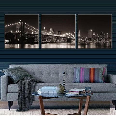 3 Pc Brooklyn Bridge In New York Canvas Wall Art Print