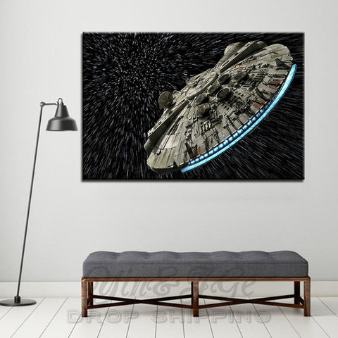 Star Wars Millennium Falcon at Lightspeed Modern Décor Wall Art Canvas HD Print