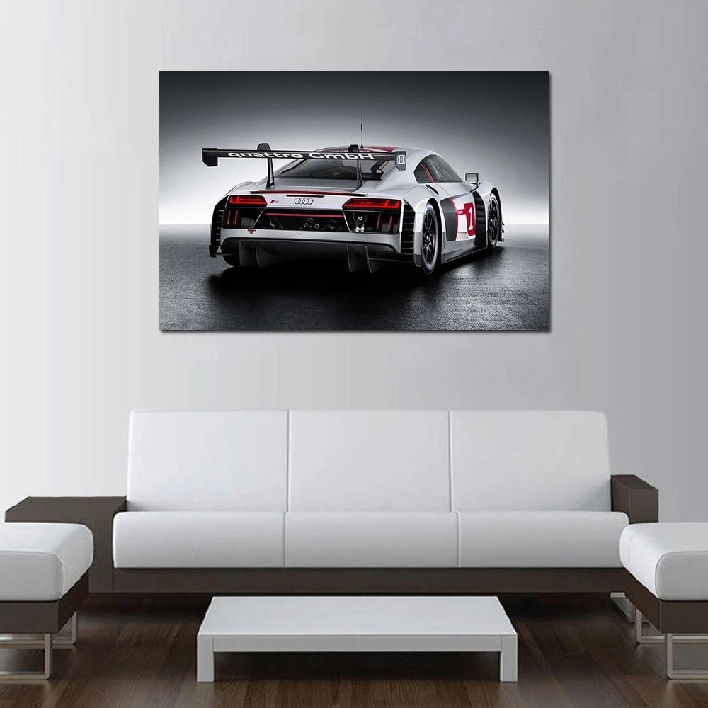Framed 2015 R8 LMS Sport Cars Modern Decor Canvas Wall Art HD Print