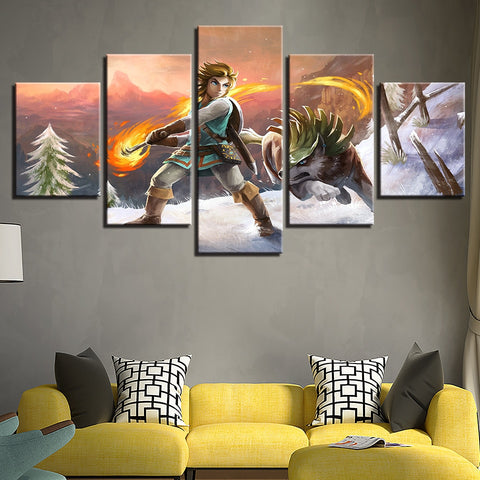 5 Panel Legend of Zelda Scene Painting Modern Décor Wall Art Canvas HD Print
