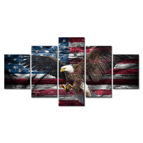 5 Panel Framed Bald Eagle & American Flag Modern Décor Canvas Wall Art HD Print