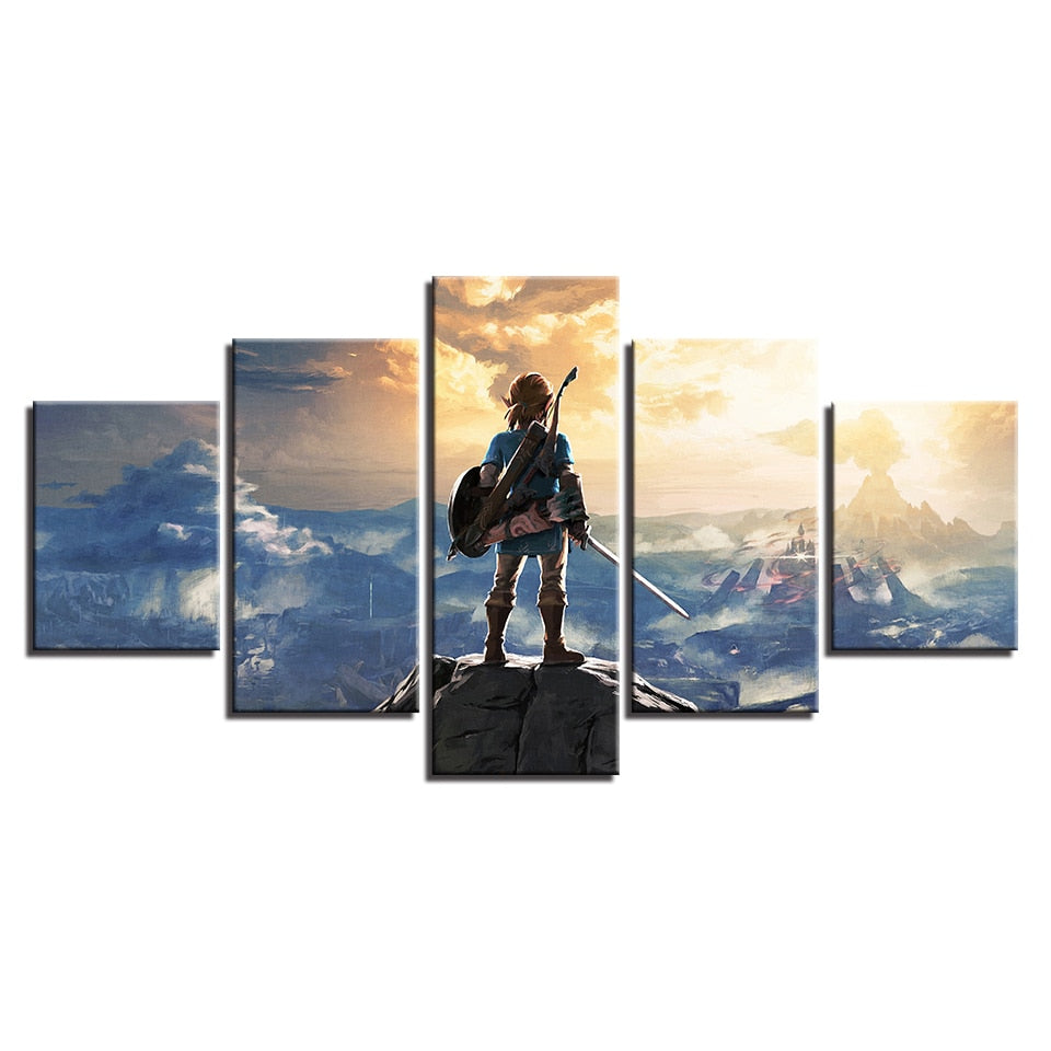 5 Panel Legend of Zelda Mountain Link Modern Décor Wall Art Canvas HD Print