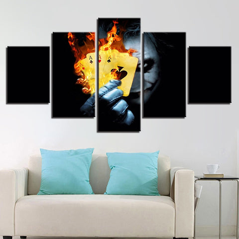 5 Panel Movie Joker & Flaming Cards Modern Décor Wall Art Canvas HD Print