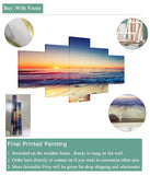4 Panel Framed Tropical Beach Sunset Modern Decor Canvas Wall Art HD Print