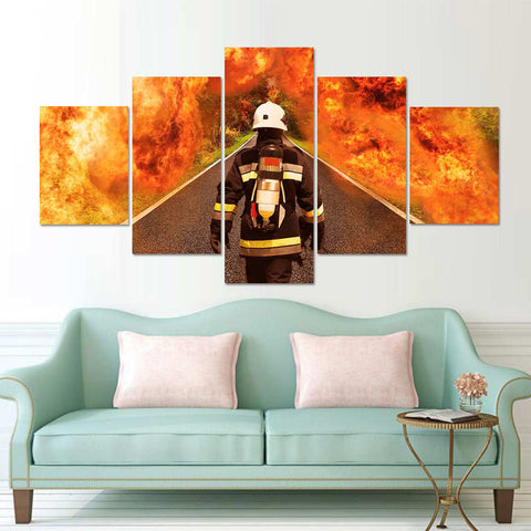 5 Panel Firefighter Modern Décor Wall Art Canvas HD Print