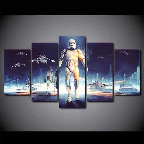 5 Panel Star Wars Clone Trooper Battle Scene Canvas Wall Art HD Print