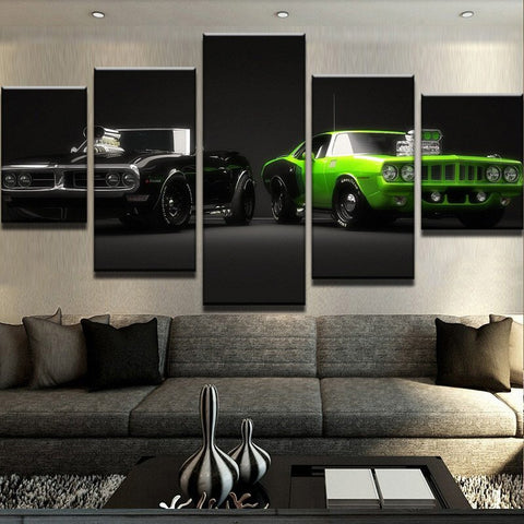 5 Panel 2 Cool Muscle Cars Home Decor Canvas Wall Art HD Print