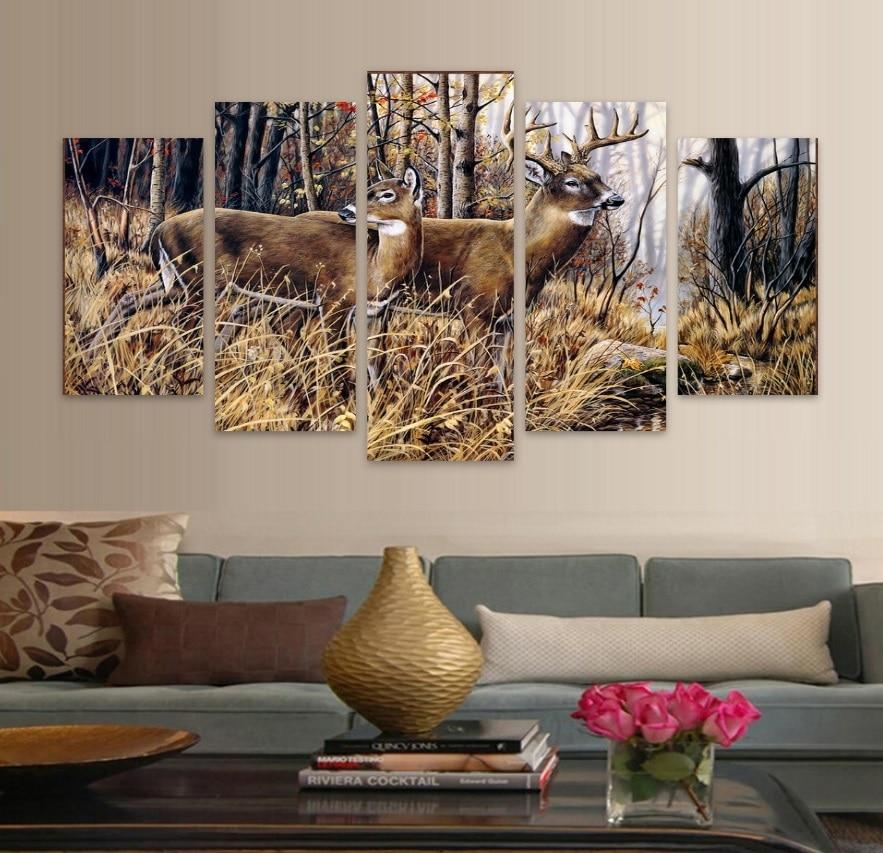 5 Pieces Pictures Forest Animal Deer Landscape Modern Decor Canvas Wall Art HD Print