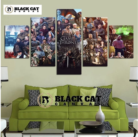 5 Panel Game of Thrones Fall Cast Modern Décor Wall Art Canvas HD Print