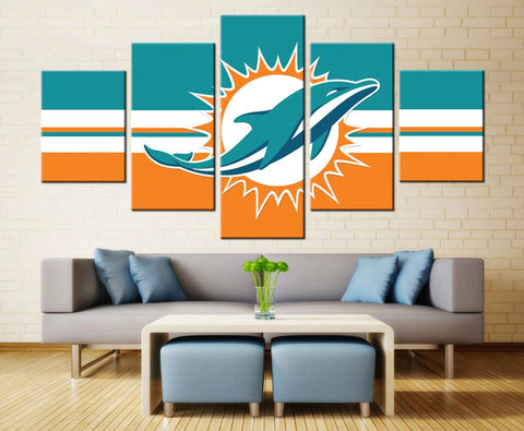 5 Panel NFL Miami Dolphins Painting Modern Decor Canvas Wall Art HD Print
