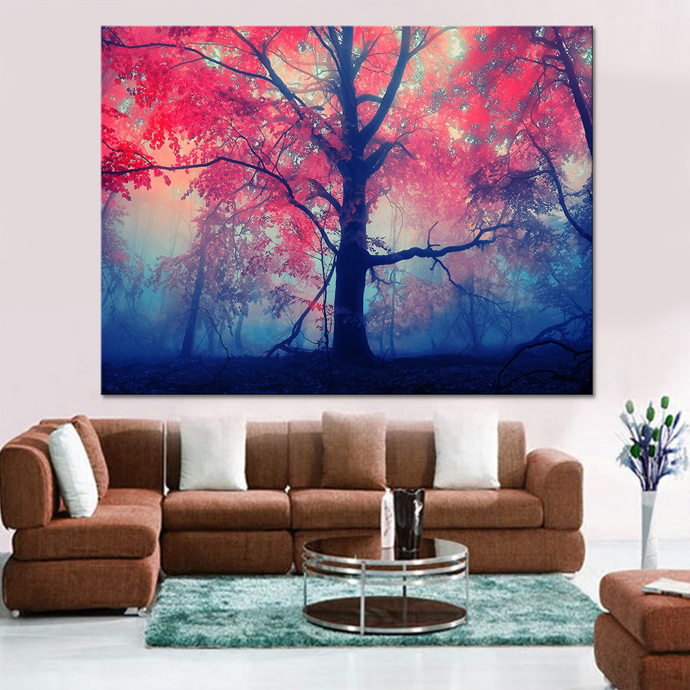Red Maple Trees Modern Decor Canvas Wall Art HD Print