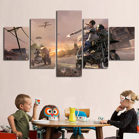 5 Panel PUBG Dueling Motorbikes Modern Décor Wall Art Canvas HD Print
