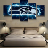 5 Panel Seattle Seahawks Modern Décor Canvas Wall Art HD Print.