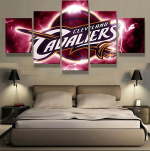 5 Panel Cleveland Cavaliers Modern Décor Canvas Wall Art HD Print.