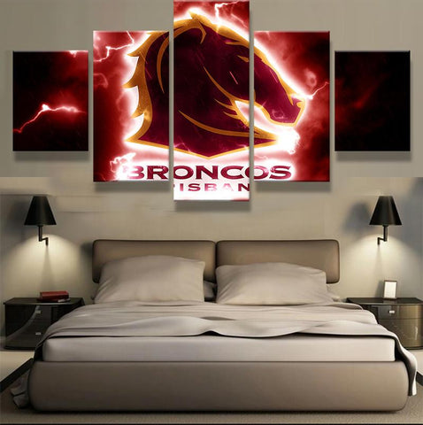 5 Panel Brisbane Broncos Modern Décor Canvas Wall Art HD Print.