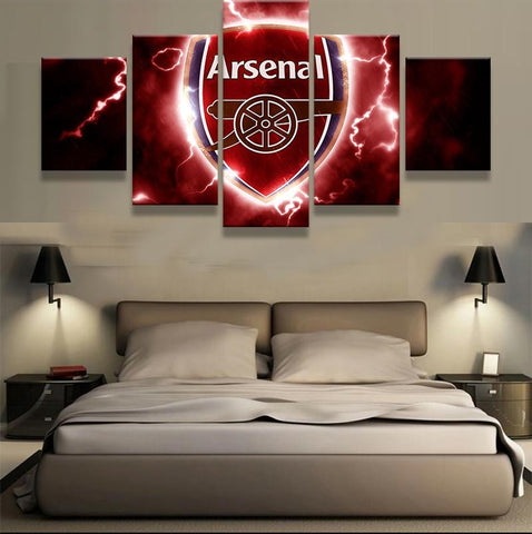 5 Panel Arsenal Football Club Modern Décor Canvas Wall Art HD Print.