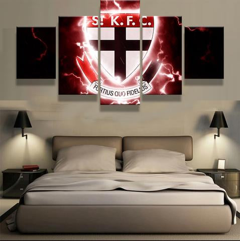 5 Panel St Kilda Logo Modern Décor Canvas Wall Art HD Print.