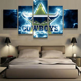5 Panel Framed NRL North Queensland Cowboys Modern Décor Canvas Wall Art HD Print.