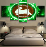 5 Panel South Sydney Rabbitohs Modern Décor Canvas Wall Art HD Print.