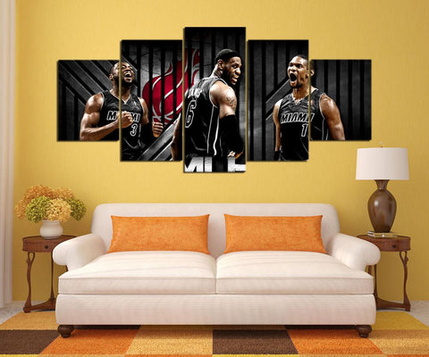 5 Panel Miami Heat Players Modern Décor Canvas Wall Art HD Print.