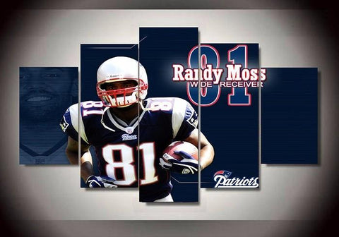 5 Panel New England Patriots 81 Footballer Randy Moss Modern Décor Canvas Wall Art HD Print.