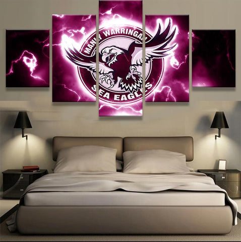 5 Panel Manly Warringah Sea Eagles New Eagle Modern Décor Canvas Wall Art HD Print.