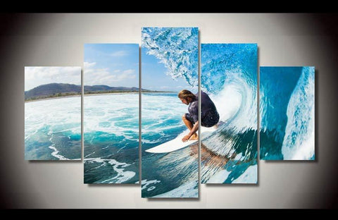 5 Panel Blue Water Surfer Modern Décor Canvas Wall Art HD Print.