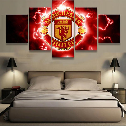 5 Panel Manchester United FC Modern Décor Canvas Wall Art HD Print.