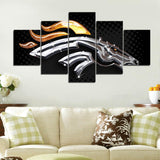 5 Panel Broncos Brand Modern Décor Canvas Wall Art HD Print.