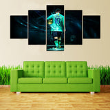 5 Panel Lionel Messi Modern Décor Canvas Wall Art HD Print.