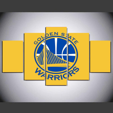 5 Panel Golden State Warriors Modern Décor Canvas Wall Art HD Print.