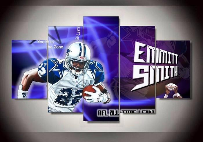 5 Panel Dallas Cowboys 22 Footballer Emmitt James Smith Modern Décor Canvas Wall Art HD Print.