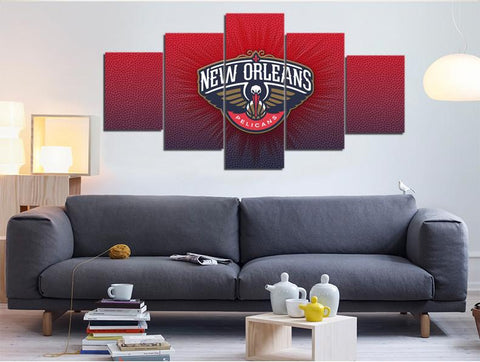 5 Panel New Orleans Pelicans Modern Décor Canvas Wall Art HD Print.