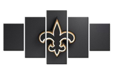 5 Panel New Orleans Saints Sports Team Modern Décor Canvas Wall Art HD Print.