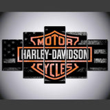 5 Panel Harley Davidson Modern Décor Canvas Wall Art HD Print.