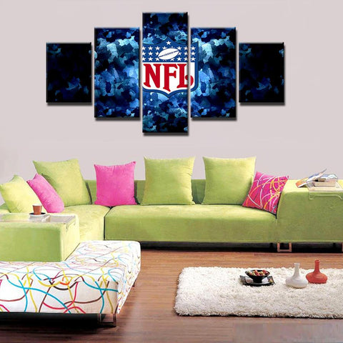 5 Panel National Football League Modern Décor Canvas Wall Art HD Print.