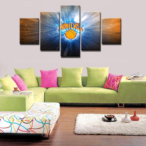5 Panel New York Knicks Modern Décor Canvas Wall Art HD Print.